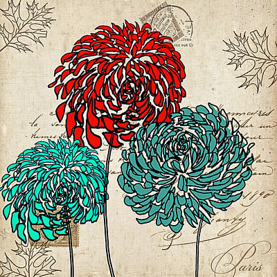 Turquoise And Red Posters