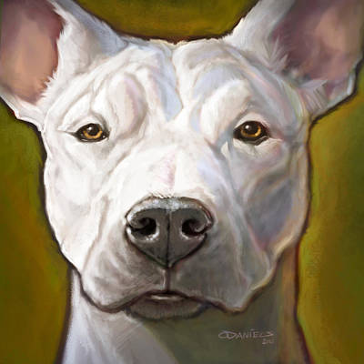 White Dogs Digital Art Posters