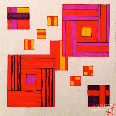 Purple Abstract Beige Drawings Posters