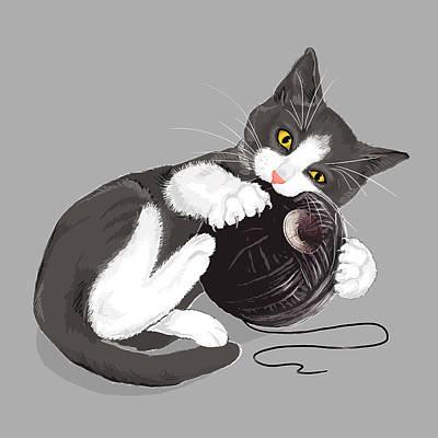 Cute Cat Digital Art Posters