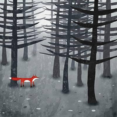 Red Fox Digital Art Posters