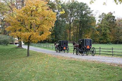 An Autumn Amish Ride Poster by R A W M