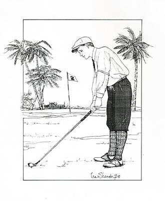 Poster featuring the drawing  1920's Vintage Golfer by Ira Shander