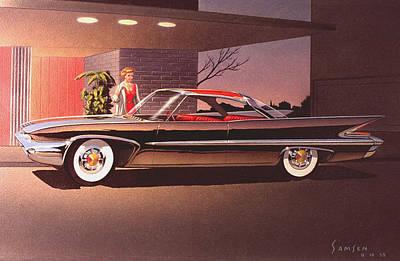 1960 Desoto Classic Styling Design Concept Rendering Sketch Poster by John Samsen