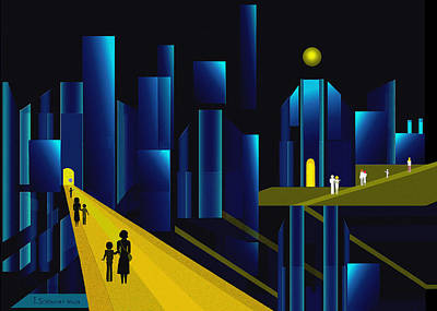 955 -  Moonlit City    Poster by Irmgard Schoendorf Welch
