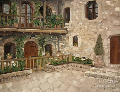 Poster featuring the painting Greek Courtyard - Agiou Stefanou Monastery -balcony by Jan Dappen