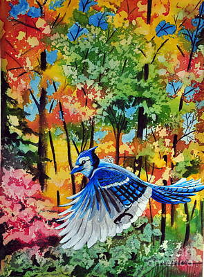 Autumn Blue Jay Poster