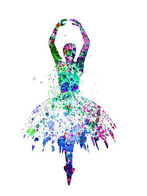 Ballerina Dancing Watercolor 4 Poster by Naxart Studio