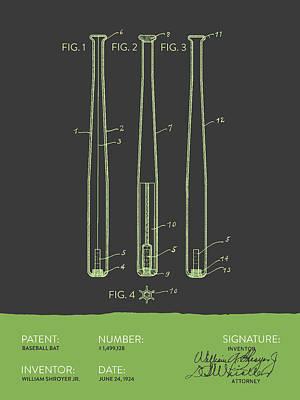 Baseball Bat Patent From 1924 - Gray Green Poster