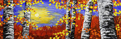 Birch Trees In Fall Panorama Painting Poster by Keith Webber Jr