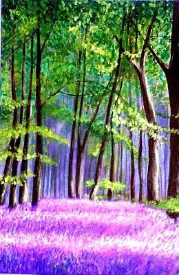 Poster featuring the painting  Bluebells Wood  by Marie-Line Vasseur