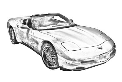 C5 Corvette Convertible Muscle Car Illustration Poster by Keith Webber Jr