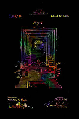 Colorful Retro Camera Patent From 1919 Poster by Eti Reid
