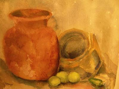 Poster featuring the painting   Crock  Pots by Beth Arroyo