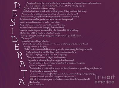 Desiderata 5 Poster by Wendy Wilton