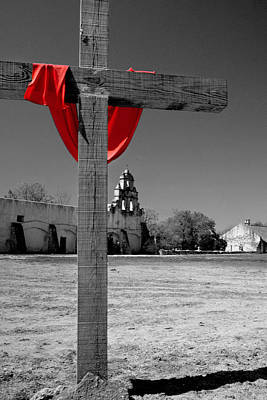 Mission San Juan Easter Cross Poster by David and Carol Kelly