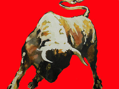 Fight Bull In Red Poster by Jose Espinoza