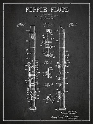 Fipple Flute Patent Drawing From 1959 - Dark Poster