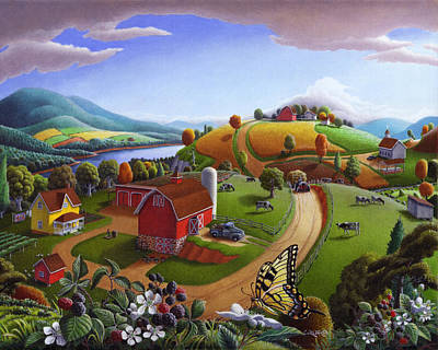 Folk Art Blackberry Patch Rural Country Farm Landscape Painting - Blackberries Rustic Americana Poster by Walt Curlee