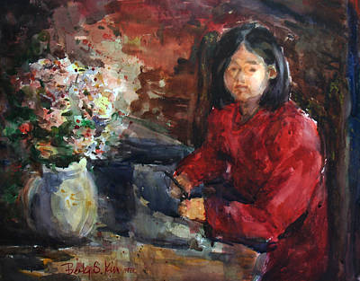 Girl In Red Dress Poster by Becky Kim