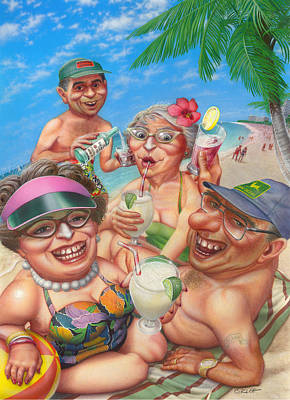 Humorous Snowbirds On Vacation - Senior  Citizen Citizens - Beach - Illustration  Poster by Walt Curlee