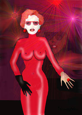 Lady In Red - 517 Poster by Irmgard Schoendorf Welch