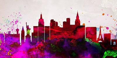 Las Vegas City Skyline Poster by Naxart Studio