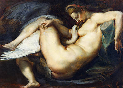 Leda And The Swan Poster by Peter Paul Rubens