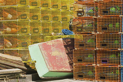 Lobster Traps And Dinghy On Coast In Maine Poster by Keith Webber Jr