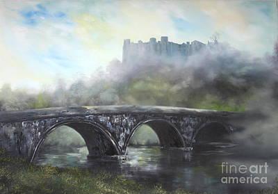 Ludlow Castle In A Mist Poster by Jean Walker