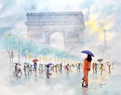 Memory Of Paris France Poster by John YATO