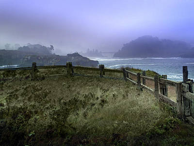 Mendocino Cliff Side Foggy Day   Poster by Judy  Johnson