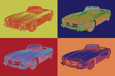 Mercedes Benz 300 Sl Convertible Pop Art Poster