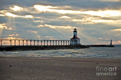 Michigan City Indiana Lighthouse On A Cold Early Spring Day. Poster by Lynne Dohner