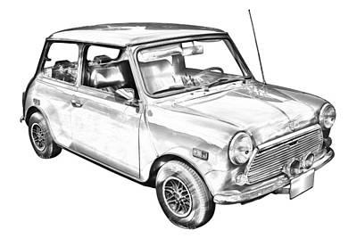 Mini Cooper Illustration Poster by Keith Webber Jr