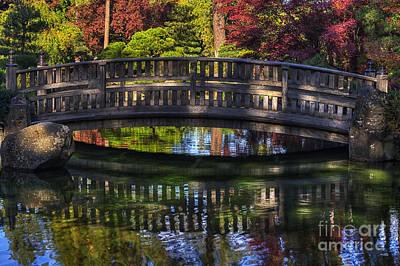 Nishinomiya Japanese Garden - Bridge Over Kiri Pond Poster by Mark Kiver