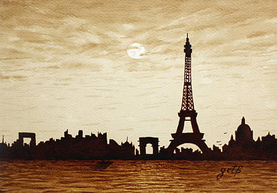 Paris Under Moonlight Silhouette France Poster