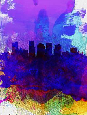 Phoenix Watercolor Skyline 1 Poster by Naxart Studio