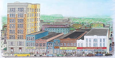 Portsmouth Ohio Dime Store Row 4th To 5th Poster by Frank Hunter