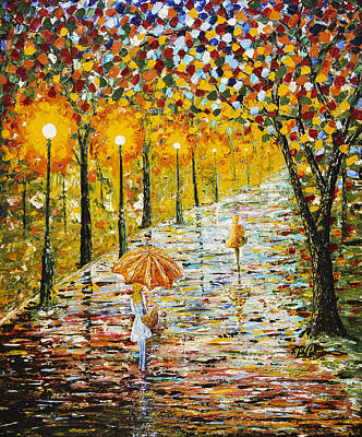 Rainy Autumn Beauty Original Palette Knife Painting Poster by Georgeta Blanaru