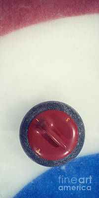 Red Curling Stone Poster by Priska Wettstein