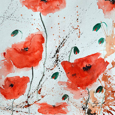 Red Poppies  Poster by Ismeta Gruenwald