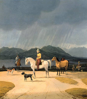 Riders At The Tegernsee Poster by Wilhelm von Kobell
