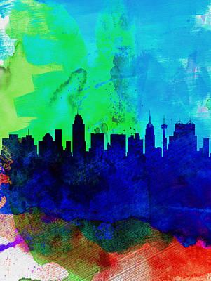 San Antonio Watercolor Skyline Poster by Naxart Studio