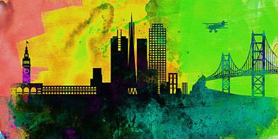 San Francisco City Skyline Poster by Naxart Studio