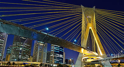 Sao Paulo's Iconic Cable-stayed Bridge  Poster