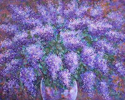 Poster featuring the painting  Scented Lilacs Bouquet by Natalie Holland