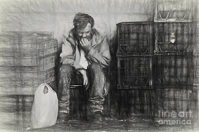 Sketch Of Man Amongst Crates Poster by Avalon Fine Art Photography