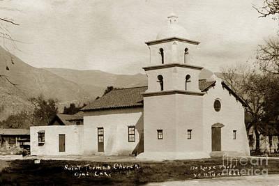 Poster featuring the photograph  St. Thomas Aquinas Catholic Church  Ojai Cal 1920 by California Views Mr Pat Hathaway Archives