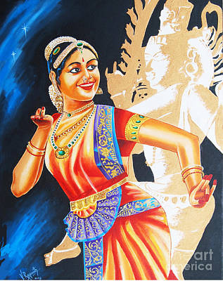 Poster featuring the painting  The Dance Divine by Ragunath Venkatraman